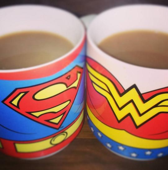 His and Hers Superman/Wonder Woman Tea  via  jj_thurlwell