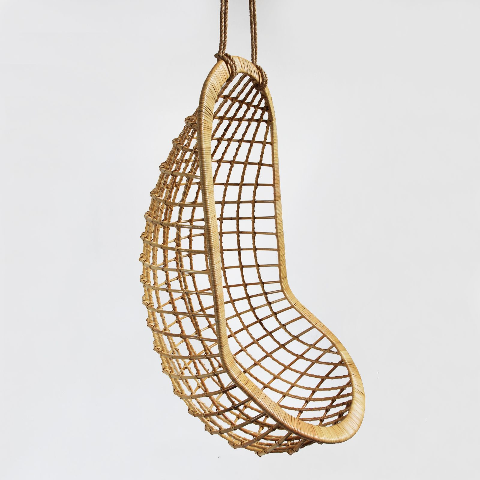 Natural Bamboo Hanging Pod Swing Chair. Includes 60 Inches Of Hanging Rope.  Swing Chair