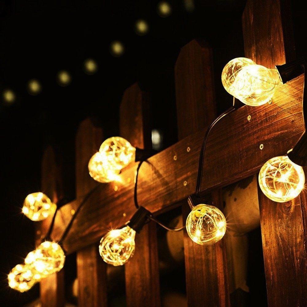 Garden led lights outdoor patio globe string lamps set of 25 warm white aloadofball Images