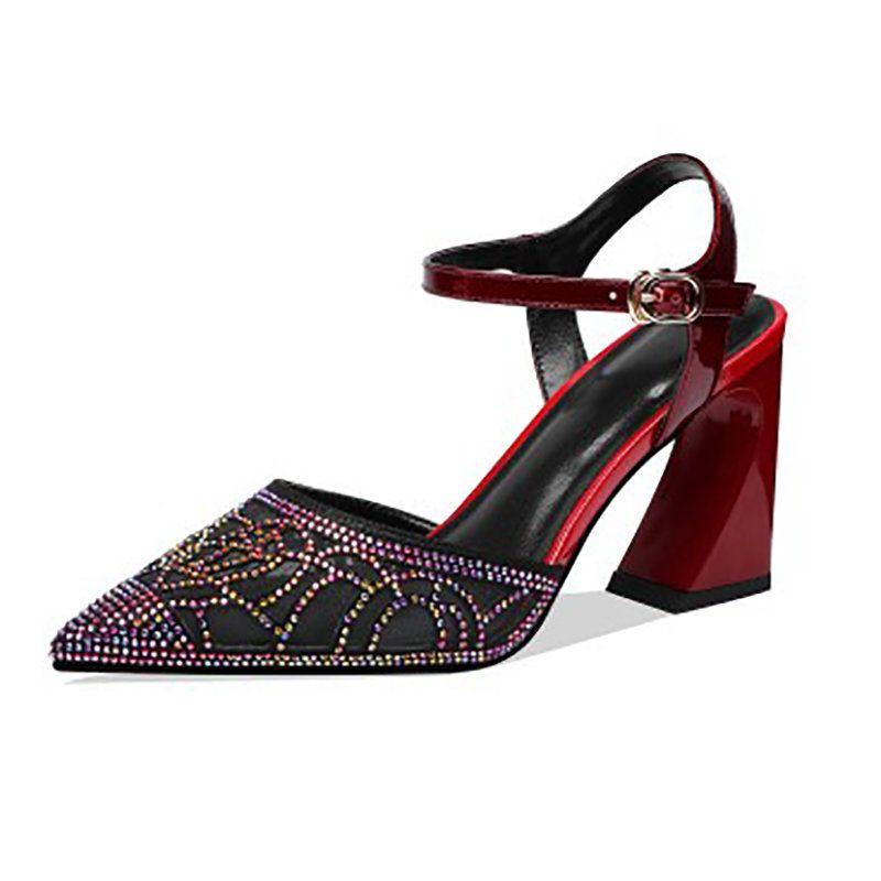 f1b421d40a5 Stylewe Sandals Spool Heel Adjustable Buckle Pointed Toe Burgundy Elegant  Sandals