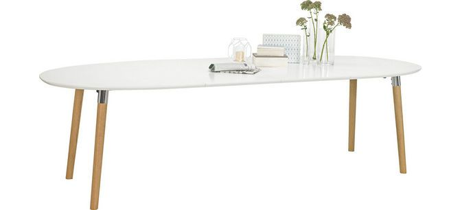 ESSTISCH oval Weiß, Eichefarben Tisch, Esstisch und