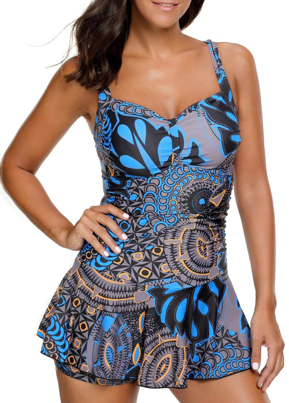 4a12e6a0f3 Ruched Printed Padded Spaghetti Strap Swimdress on sale only US$32.42 now,  buy cheap Ruched Printed Padded Spaghetti Strap Swimdress at liligal.com