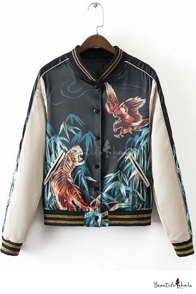 Cool Girl Tiger Eagle Print Baseball Jacket   Printed bomber jacket ...