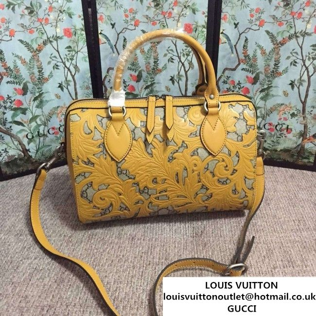 6b1b14b4cccc Gucci Arabesque GG Supreme and Leather Top Handle Small Boston Bag 409529  Yellow 2016