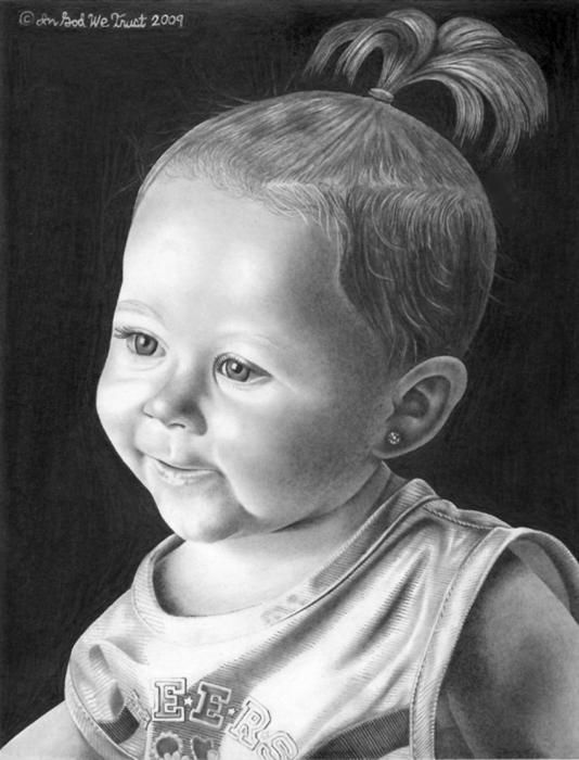 """Pencil Portrait of My Third Grandaughter Drawing""--Lee Hammond"