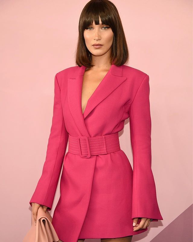 Pretty in pink: we love @bellahadid's bright blazer dress by @off____white.  Getty Images  via INSTYLE AUSTRALIA MAGAZINE OFFICIAL INSTAGRAM - Fashion Campaigns  Haute Couture  Advertising  Editorial Photography  Magazine Cover Designs  Supermodels  Runway Models