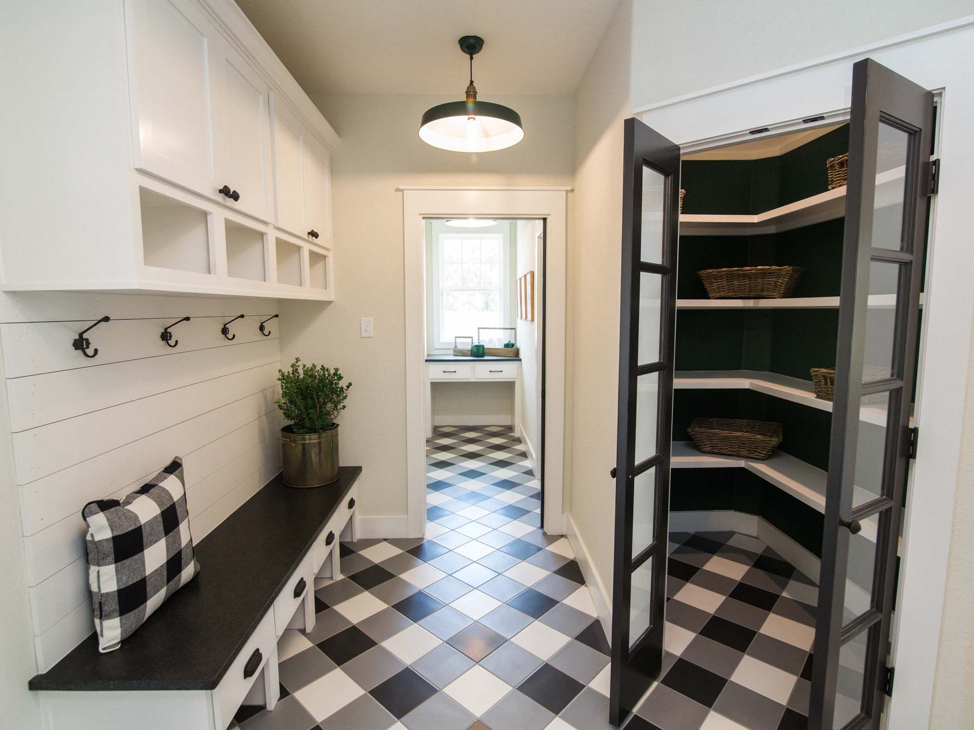 Mudroom And Pantry With Black And White Buffalo Check Tile Floor Black And White Flooring Home White Family Rooms