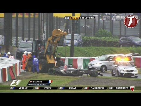 Jules Bianchi entre la vie et la mort : Crash de Jules Bianchi GP du Japon (vidéo) - http://www.actusports.fr/120404/jules-bianchi-vie-mort-crash-jules-bianchi-gp-du-japon-video/