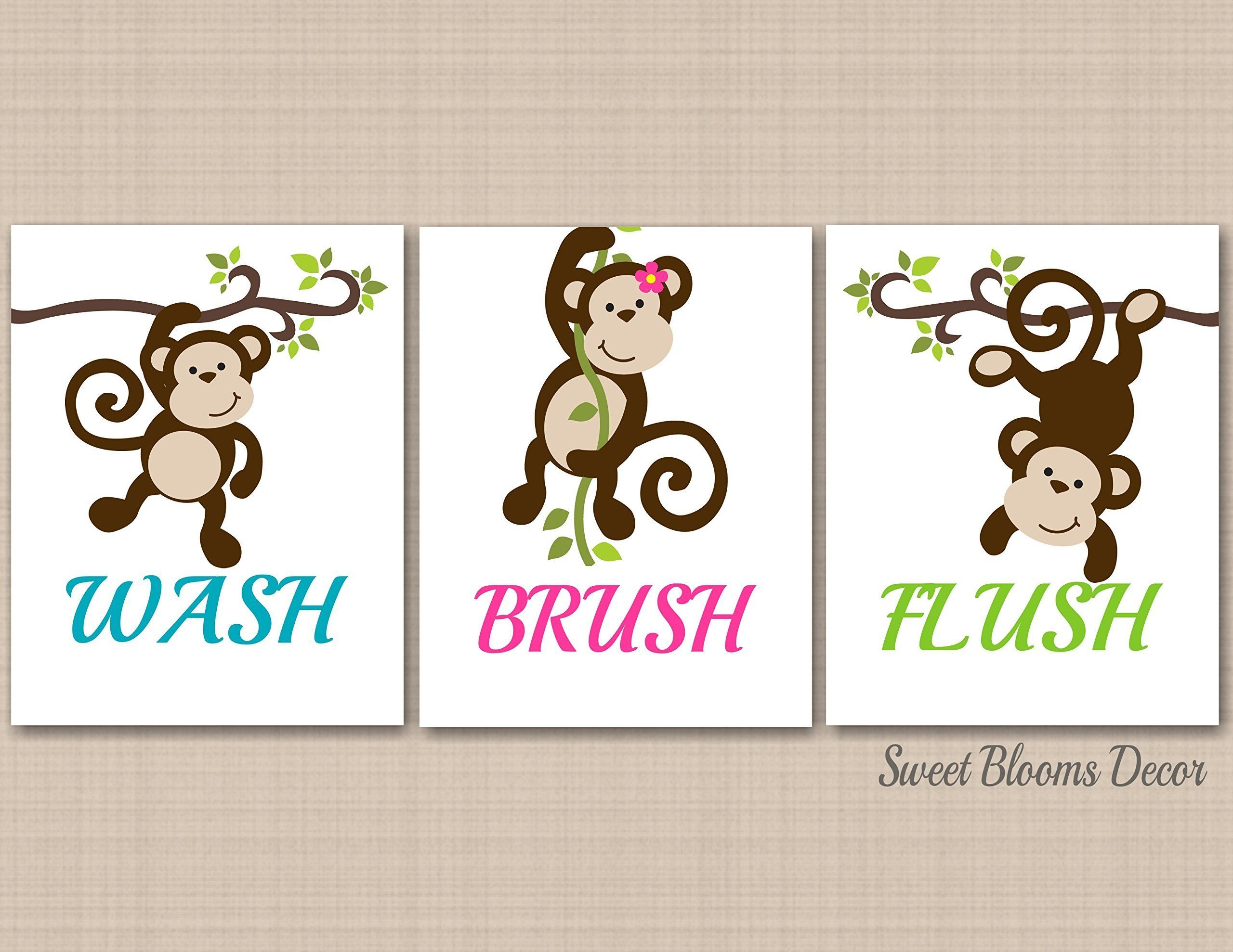 Monkey Décor,Monkey Bathroom Wall Art,Monkey Bathroom Wall Decor,Brother  Sister Bathroom