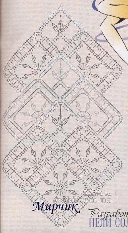 ленточное кружево 8 - схема узора | knit8 - afghan,granny,motif ...