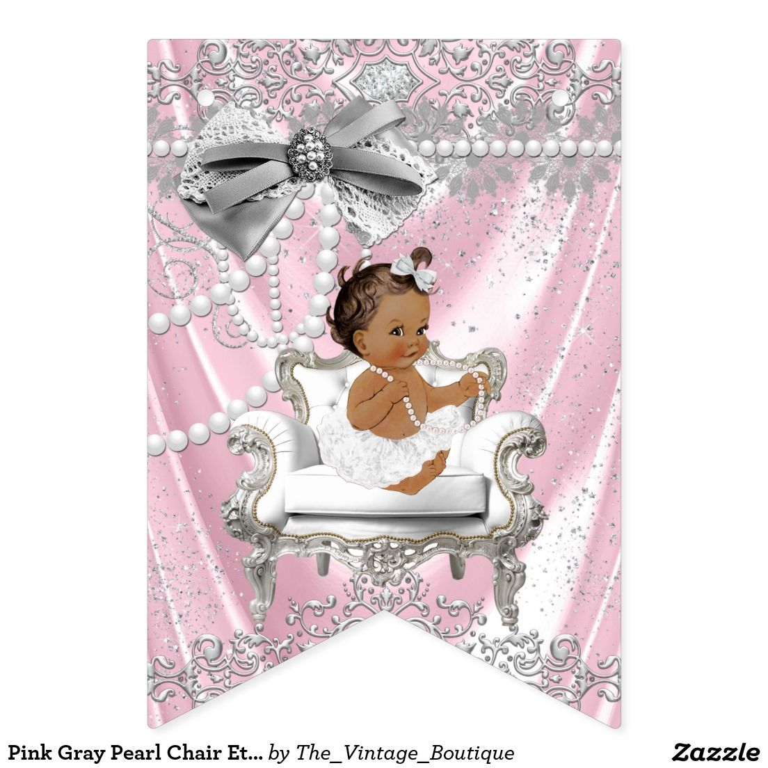 Pink Gray Pearl Chair Ethnic Girl Baby Shower Bunting Flags