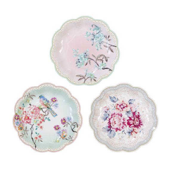 Floral Paper Plates Bridal Tea Party Plates Love Birds  sc 1 st  Pinterest & Floral Paper Plates Bridal Tea Party Plates Love Birds | tea party ...