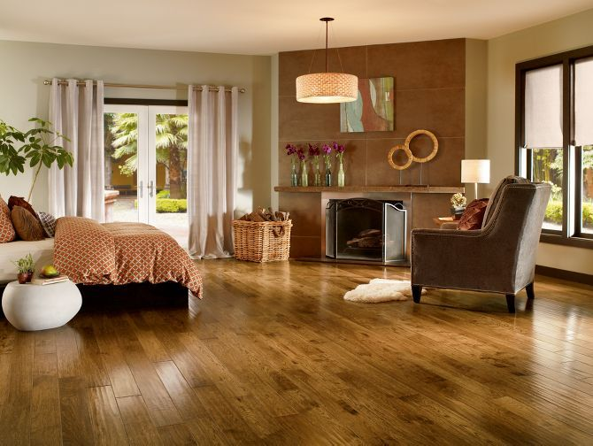 Golden Brown Hickory Hardwood Floors by Armstrong
