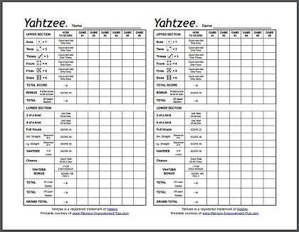 Printable Yahtzee Score Sheets  Grandchildren    Cards