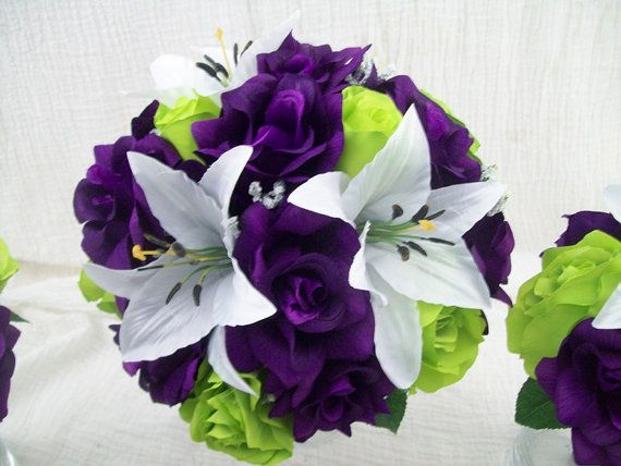 Make your wedding pop with a purple and lime green theme limes purple lime green or apple green roses and white tiger lilies wedding bouquets silk flower bridal bouquets 15 pieces made to order flowers junglespirit Choice Image