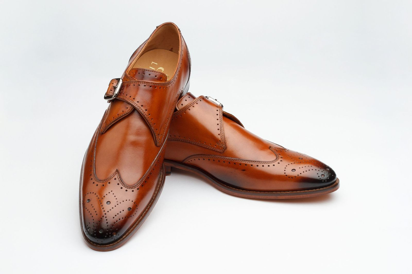 Real Leather Brown Monk Wing Tip Brogues Toe Single Buckle