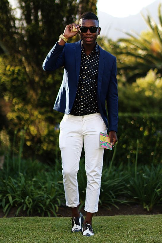 Mens fashion - Blue blazer, polka dot shirt, white pants navy and ...
