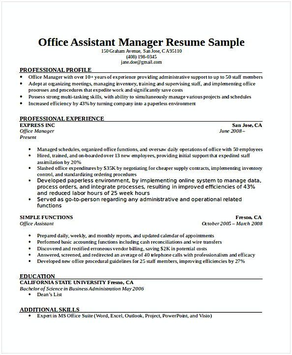 Office Assistant Manager Resume , General Manager Resume , Find the ...
