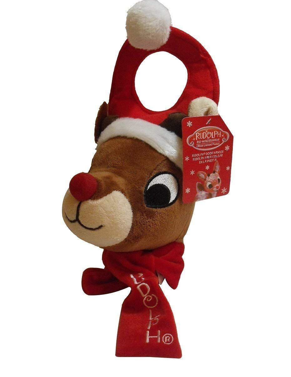 0863dd39db03a 13 Inch Rudolph The Red Nosed Reindeer in Santa Hat Christmas Plush Door