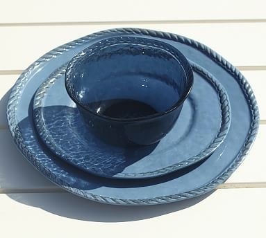 Rope Outdoor Dinnerware, Blue #potterybarn