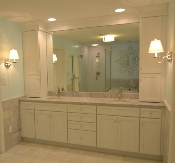 Light Blue Bathroom Remodel With Custom Cabinetry And Shaded Sconces  Designed By The JAE Company #
