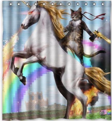 Amazon Oddities 12 2 16 Rambo Cat On A Unicorn Shower Curtain