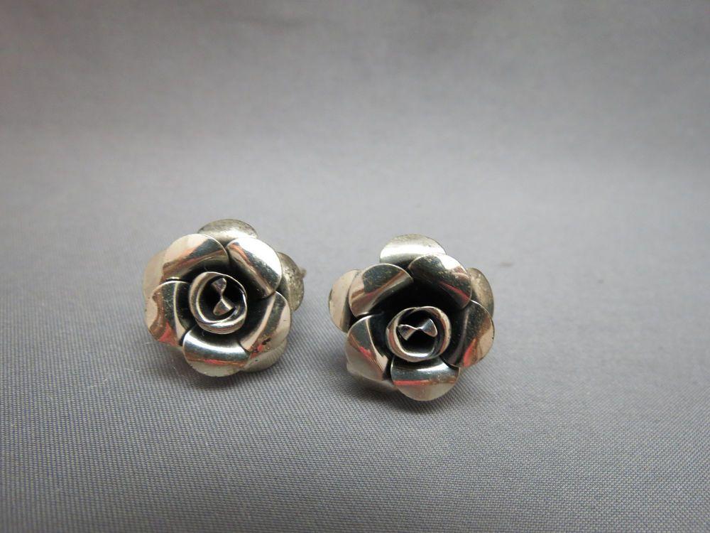Vintage Beau Sterling Silver Screw Back Earrings Rose Flowers 6.9 Grams  #BeauSterling #ScrewBack