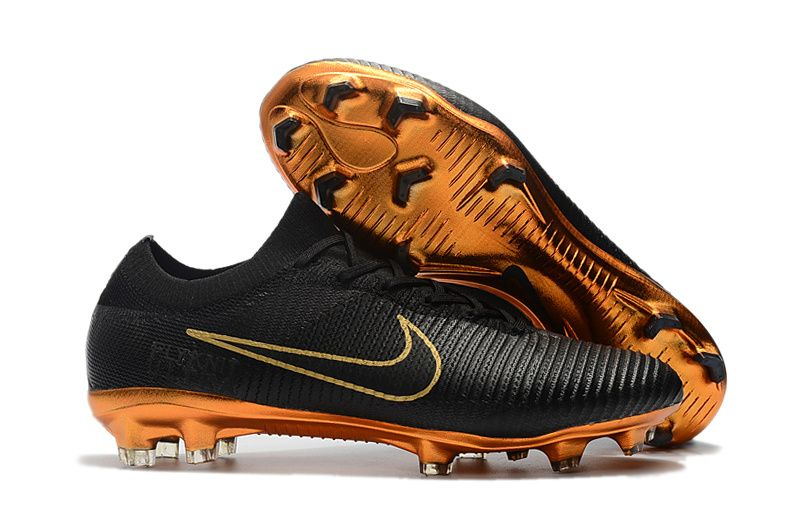 2017-18 Black Golden Nike Mercurial Vapor XII Elite FG Boots , Free shipping  fee