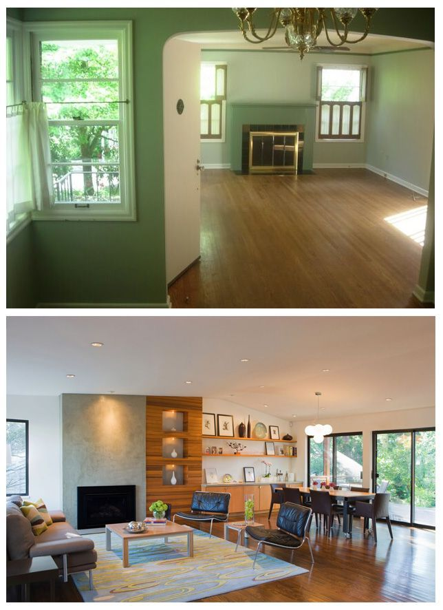 before after living room remodel by vanillawood design build firm