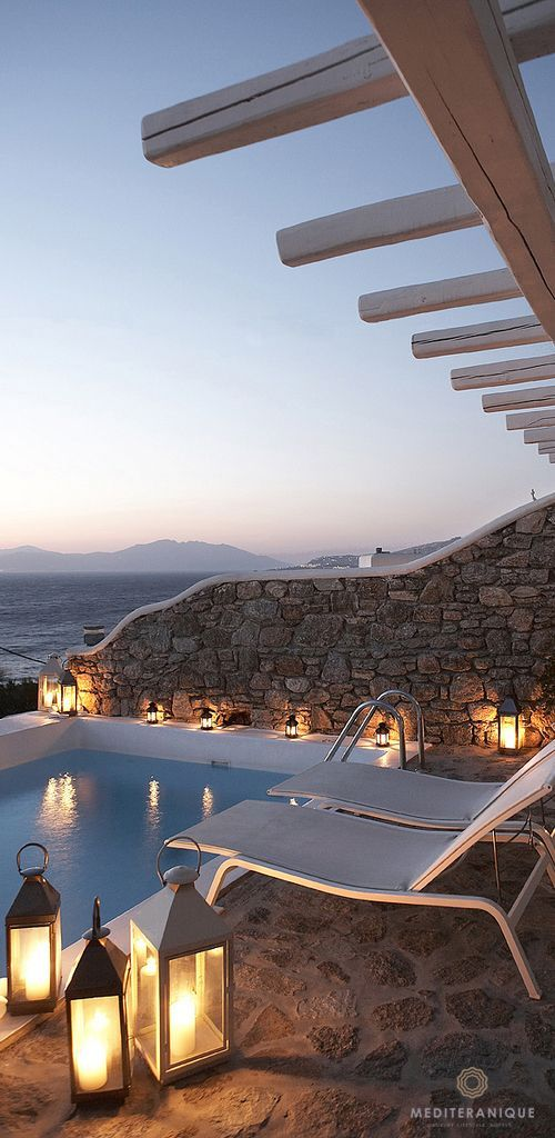 Private Terrace with Plunge Pool overlooking the deep blue Aegean Sea at the Bill & Coo Mykonos