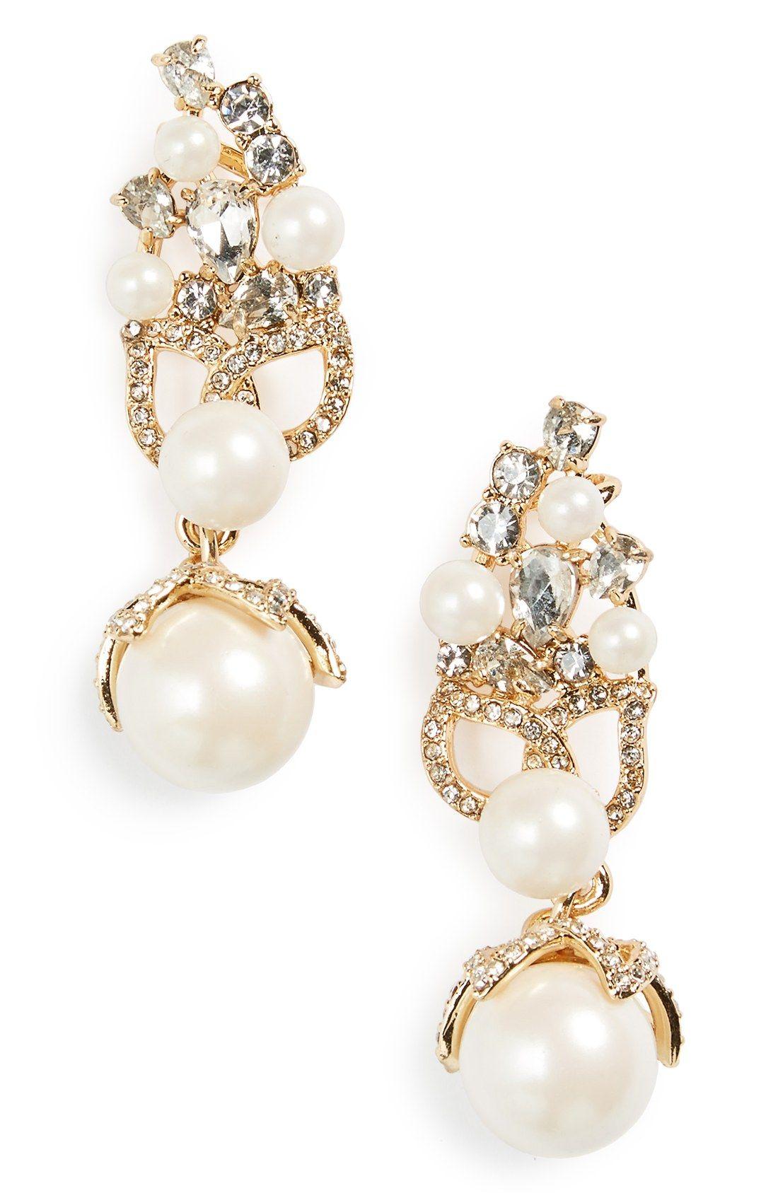 Bouquet Faux Pearl Drop Ear Crawlers Kate Spade Wedding Earrings