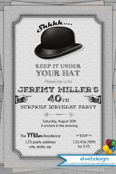 Vintage Adult Surprise Birthday Invitation Keep it under Your hat – Hat Party Invitation
