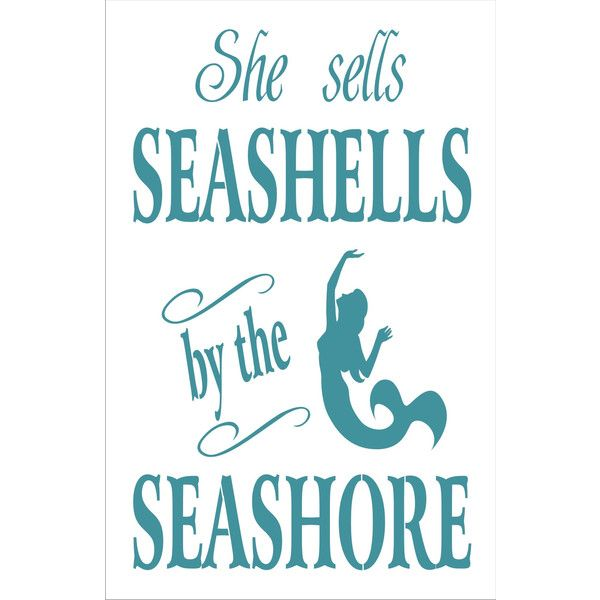 She Sells Seashells By The Seashore Beach Sign Stencil With Mermaid 5... (