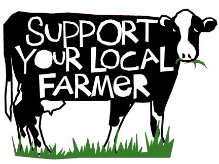 Support Your Local Farmer Bumper Sticker Black And White Cow Die