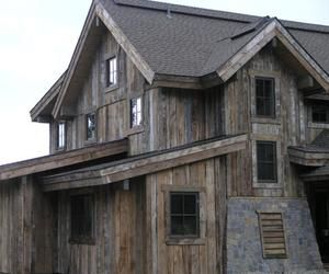 Brown barn wood siding. Really, it is old barn wood ...