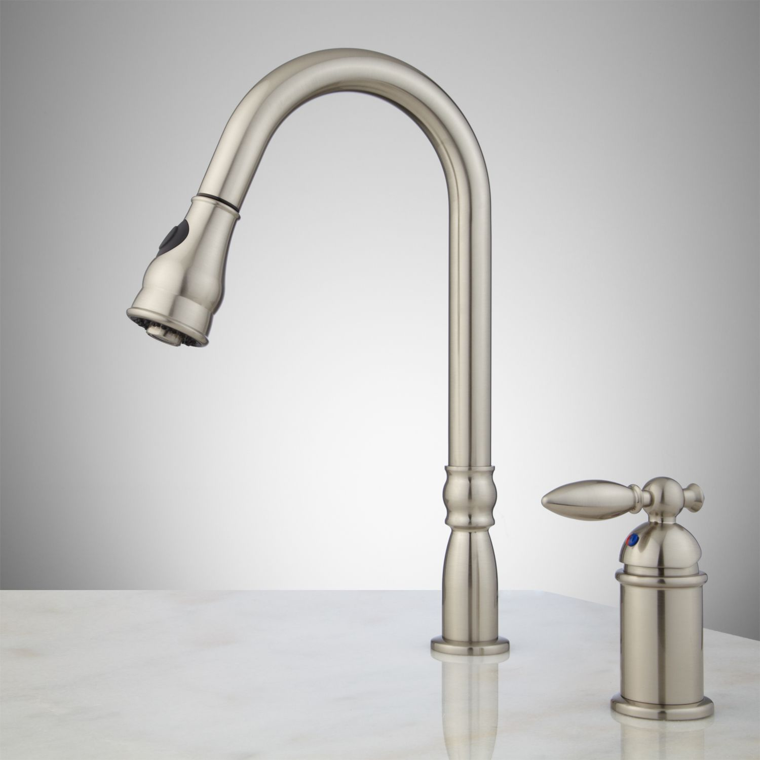 kitchen faucets pull down spray brushed nickel Google