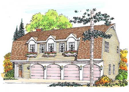 Plan w47002pr garage narrow lot carriage house plans for House plans 3 car garage narrow lot