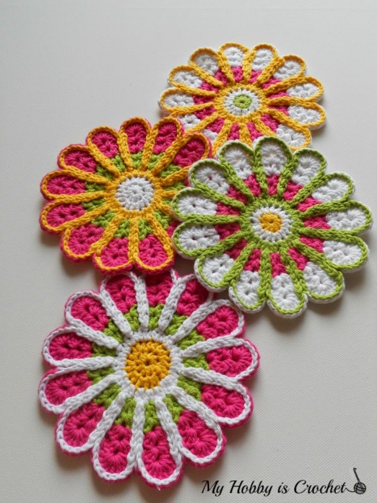 Free Pattern] Flower Crochet Coasters: Chrysanthemum | Crochet ...