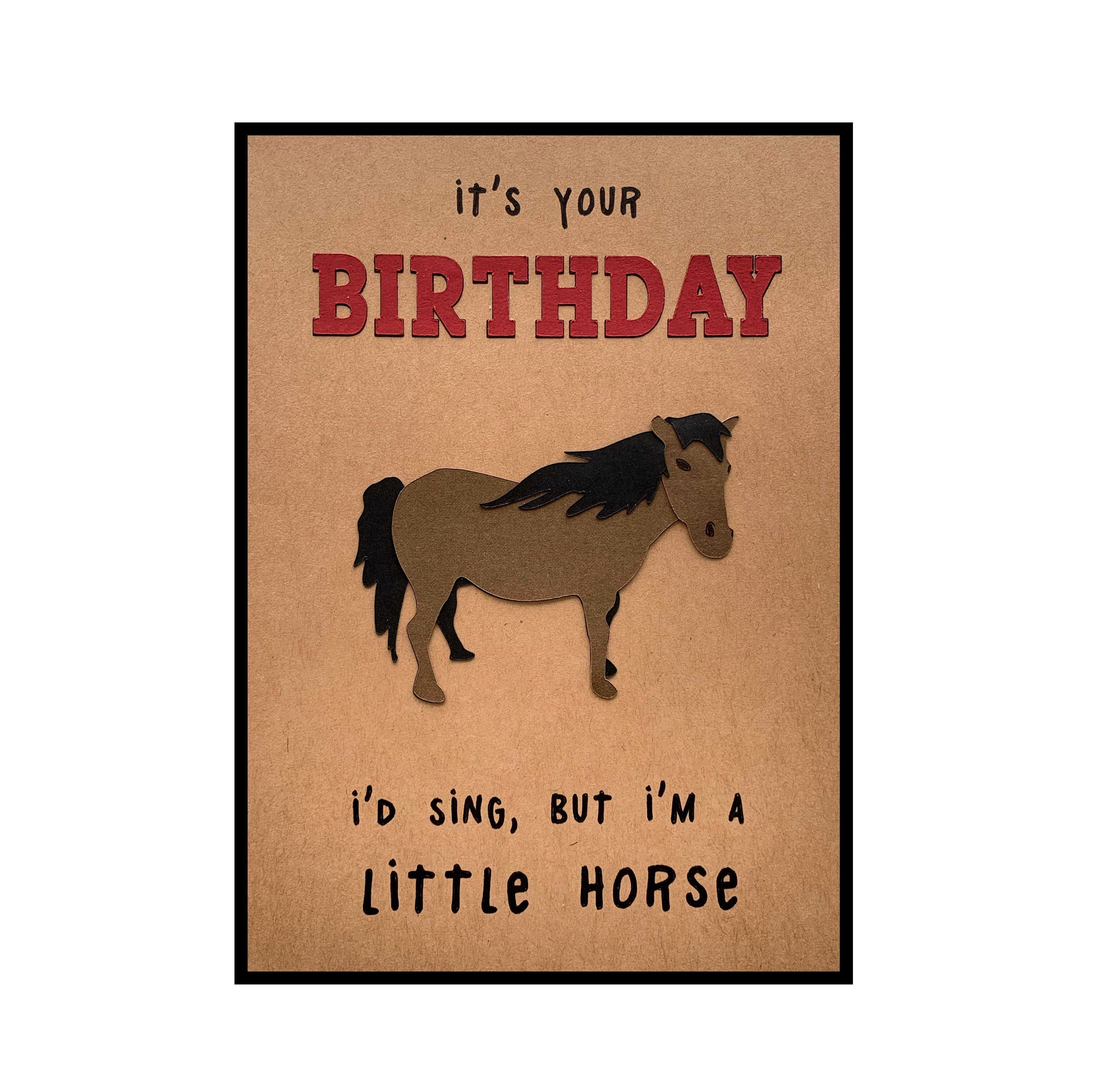 Funny Birthday Card Pun I D Sing But I M A Little Horse By Biburypaper On Etsy Https Www Etsy Co Funny Birthday Cards Birthday Card Puns Birthday Humor