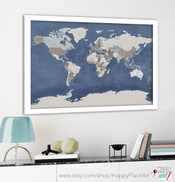Educational World Map, Home School, Wall Map for Push Pins, World