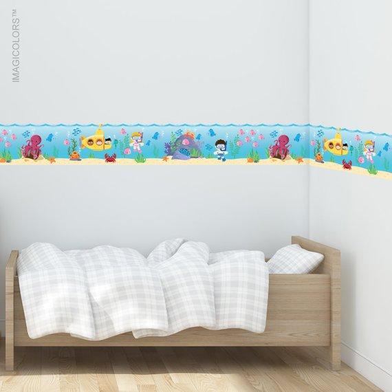 Sea Wallpaper Border Fabric Wall Decal Kids Wallpaper Etsy In 2021 Kids Room Wall Decals Kid Room Decor Kids Wall Decals