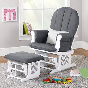 Nursery Glider Rocker Ottoman Baby Room Rocking Chair Cushion Grey Gray Chevron Ebay