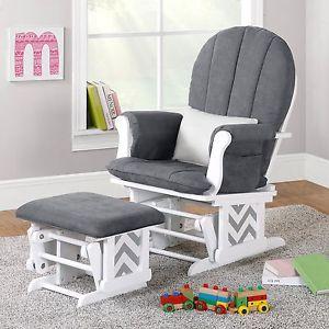 Nursery Glider Rocker Ottoman Baby Room Rocking Chair Cushion Grey Gray  Chevron