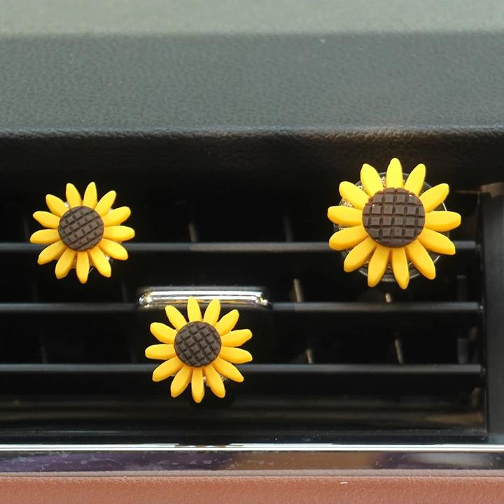 Photo of Set of 3 Sunflowers Car Air Vent Decoration with Freshener DIY clip