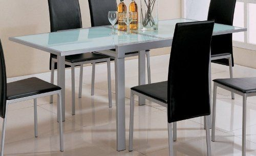 Dining Table With Frosted Glass Top Silver Metal Finish By Coaster