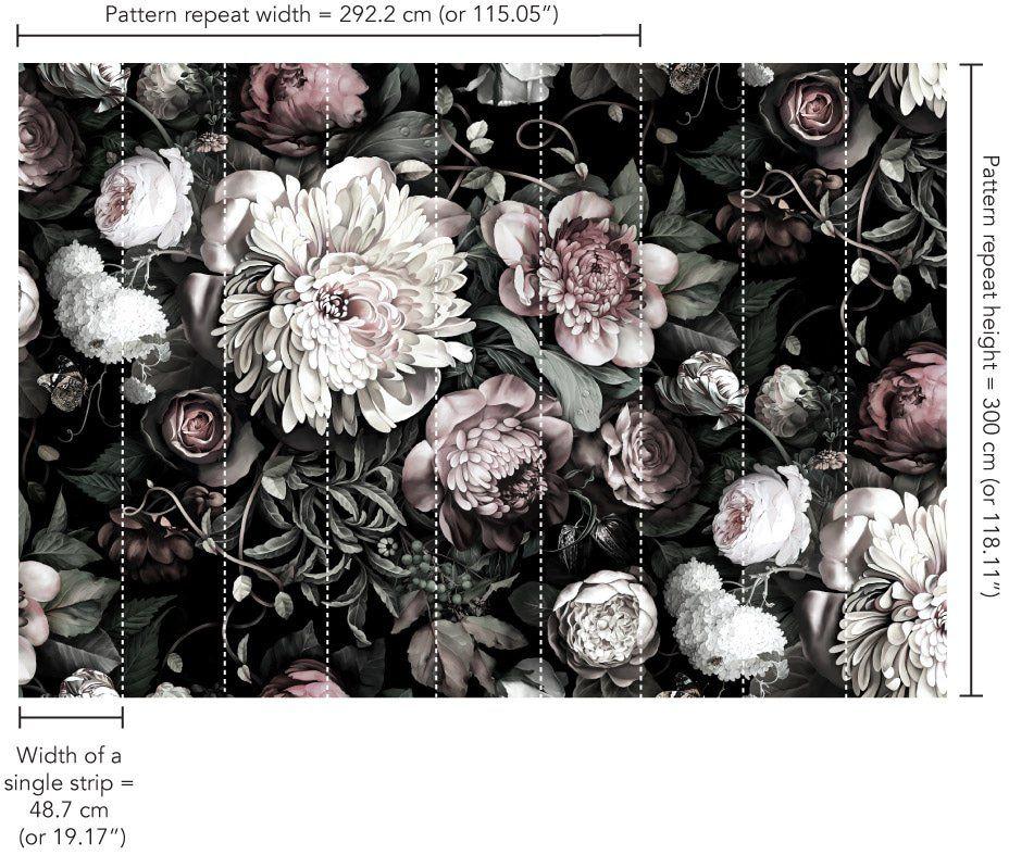Dark floral ii black desaturated xxl 300 wallpaper