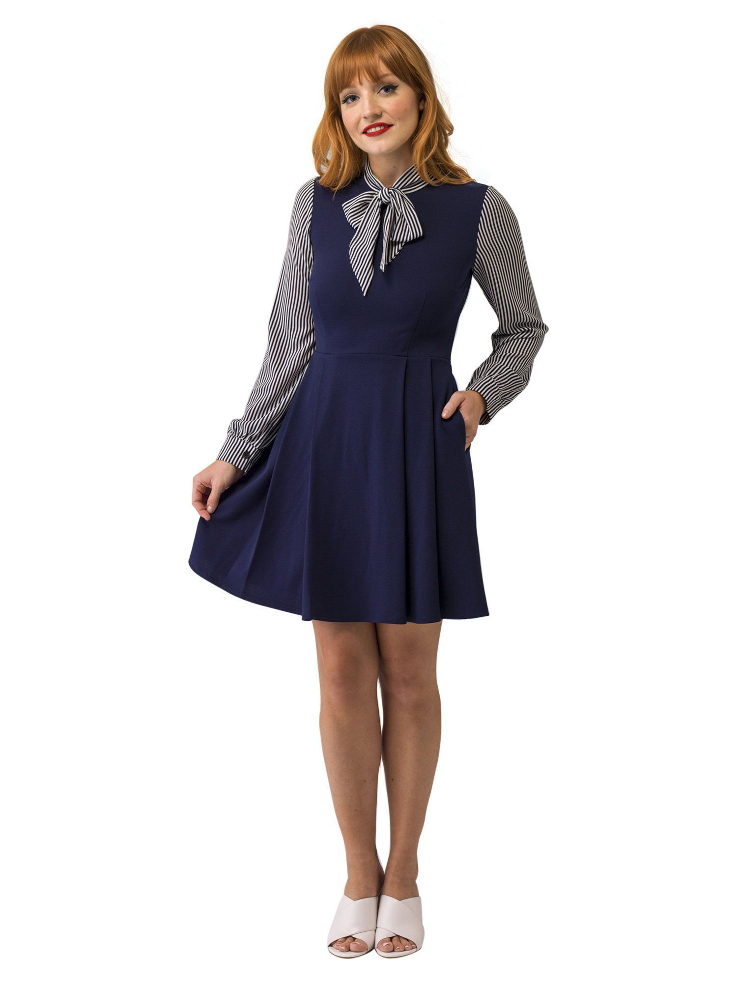7a66354f42 Navy Dress with Navy and White Polka Dot Long Sleeves and Neck Bow. Find  this Pin and more on Products by Smak Parlour.