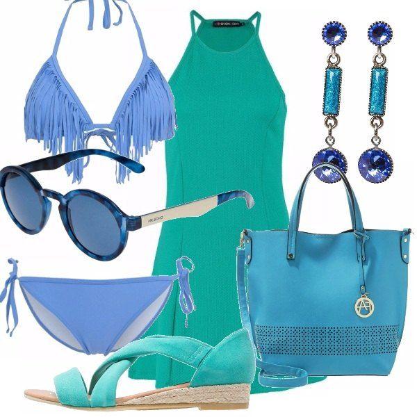 Un outfit che si ispira ai colori del mare abito di linea dritta verde delizioso bikini - Sopra un mare di specchi si vola ...