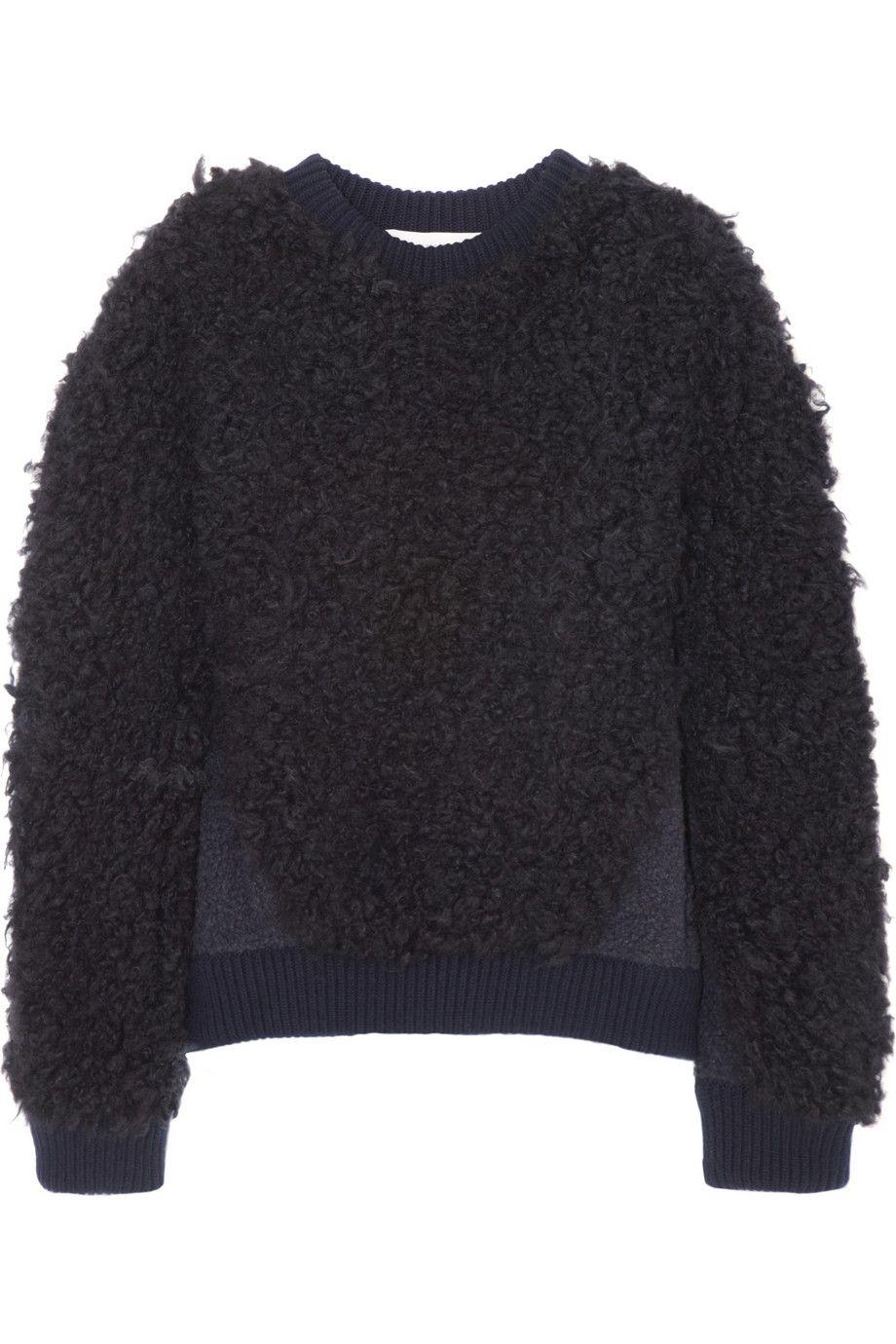 Stella McCartney|Shearling-effect knitted sweater|NET-A-PORTER.COM