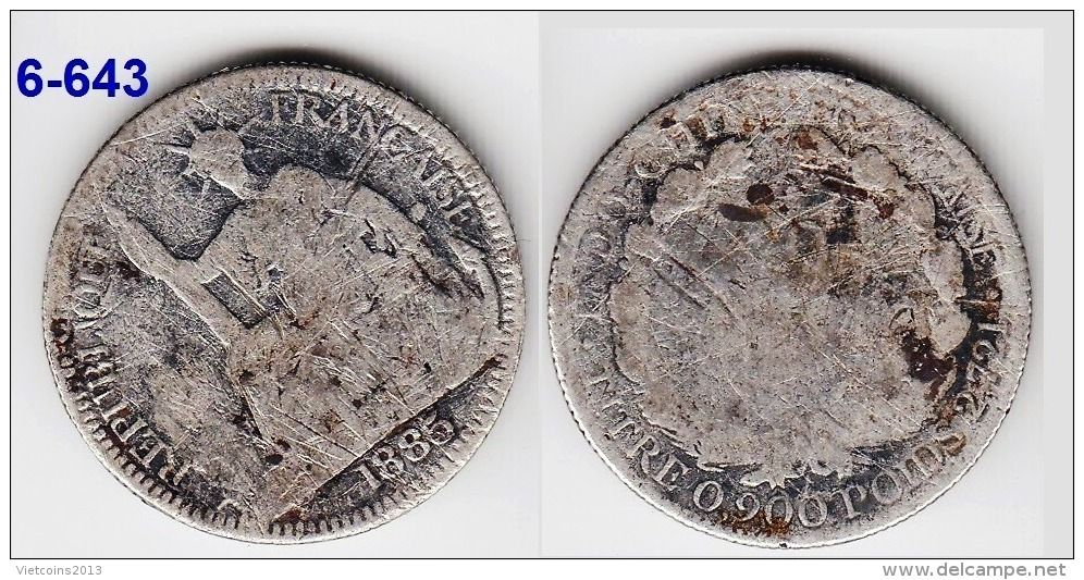 French Indochina silver coin 1885 10 centimes KM# 2